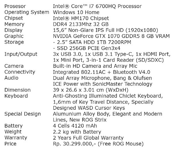 Spesifikasi Teknis ASUS ROG Strix GL502VS