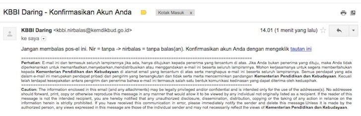 Aplikasi KBBI Daring - Konfirmasi Email
