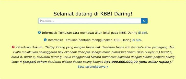 Halaman Depan Aplikasi KBBI Online