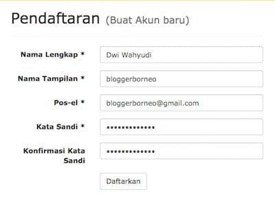 Aplikasi KBBI Online - Pendaftaran Akun