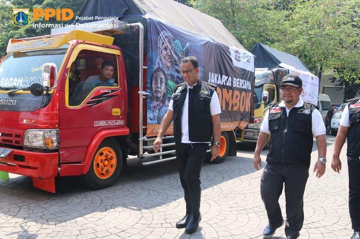 DKI Jakarta Kirim Bantuan 20 Truk ke Lombok Kerjasama dengan ACT