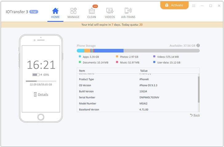 IOTransfer 3 Device Details