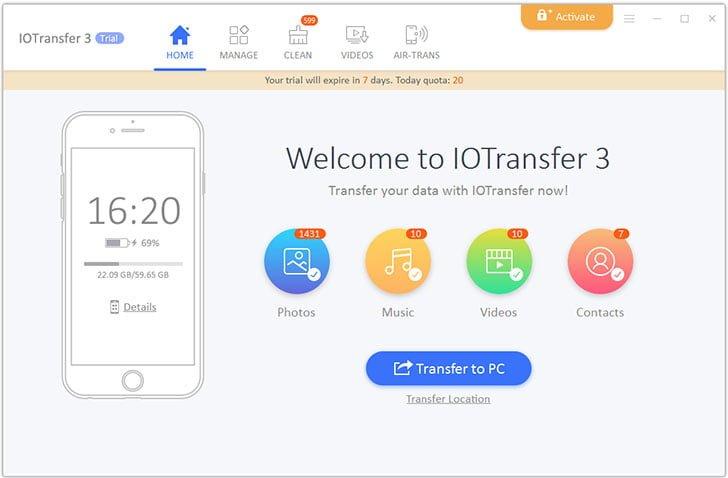 IOTransfer 3 Home Screen