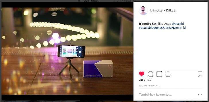 Juara Satu Mini Kontes Instagram ASUS Blogger Gathering 2018 Pontianak