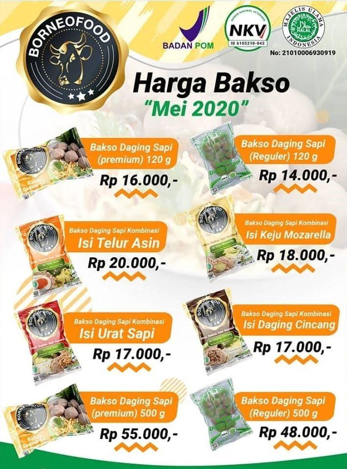 Harga Bakso BorneoFood Terbaru